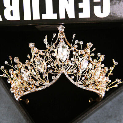 Baroque Crown Girls Wedding Hair Accessories Gems Bridal Tiara Bride Hairw FE