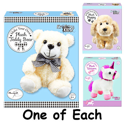 3 X Make Your Own Plush Playset Toy Sewing Kit Fun Activity 1 Of Each Xmas Gift