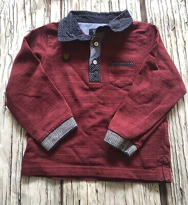 Age 2 Designer Mayoral Polo Top Burgandy Boys Looks Unworn