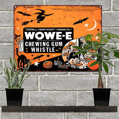 Wowe-e  Wowee Gum Halloween Candy Advertising Baked Metal Repro Sign 10x12 60121