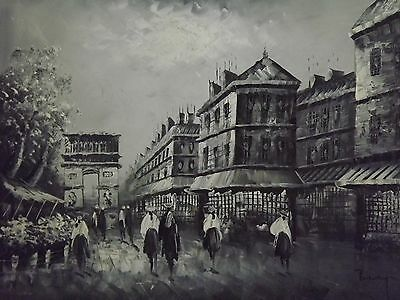 black white paris large oil painting canvas modern original french France art