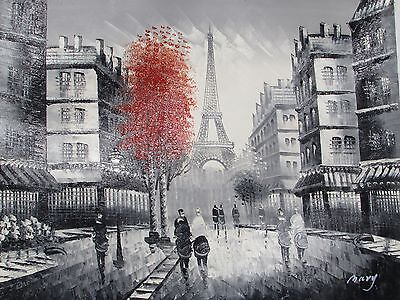 black white Paris red large oil painting canvas France original French cityscape