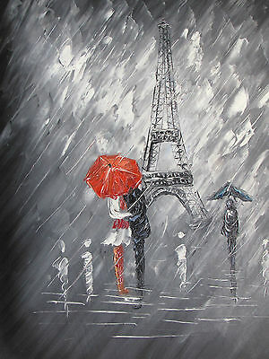 black white Paris red large oil painting canvas modern original French cityscape