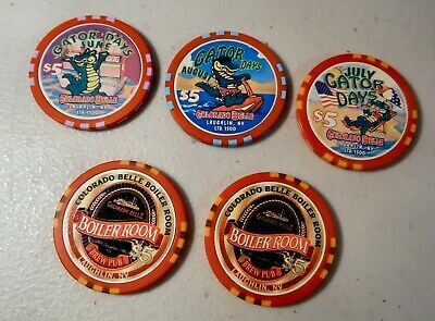 Five $5. Gaming Chips Colorado Belle Casino Laughlin Nv Uncirculated