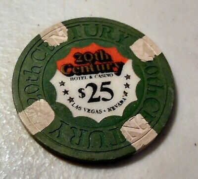 3 Vintage Casino Chips From 20th Century Hotel/Casino LV (1)$25. and (2) $5.