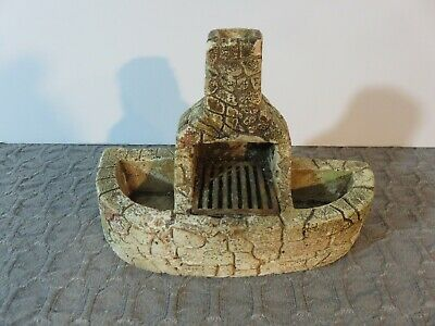 Beautiful Stone Fireplace Unique!! Doll House Miniatures Outside Grill