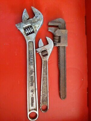"""Crescent Adjustable Wrench mixed lot Sears 12"""" proto monkey Pipe tool"""