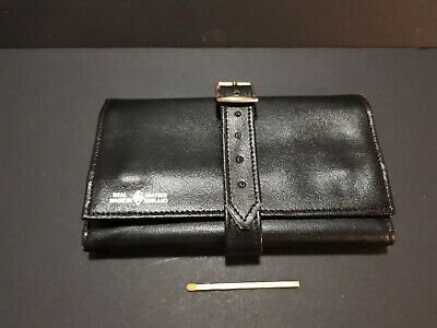 Full leather jewellery wallet travel vintage black soft suede inner England made