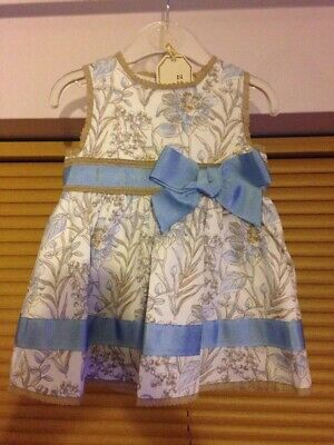 Baby Girls Spanish Dress Blue Beige Pretty Big Bow Dress Up to 3 Months