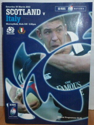 Scottish Rugby Union Scotland v Italy 2003 official programme