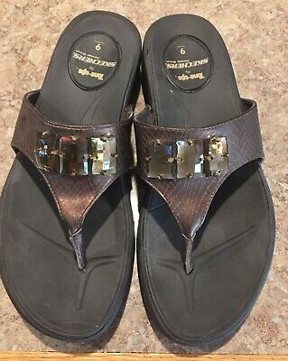 Skechers Tone Ups Womens Size 9 39 Flip Flop Thong Silver