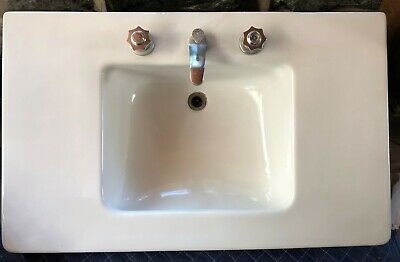 "Mid-Century Modern Large 22"" x 36"" Wall Mount White Porcelain Bathroom Sink"