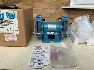 """WOLF TYPE 8348 240V SINGLE PHASE BENCH GRINDER 150mm x 20mm x 1/2"""" BORE STONES"""