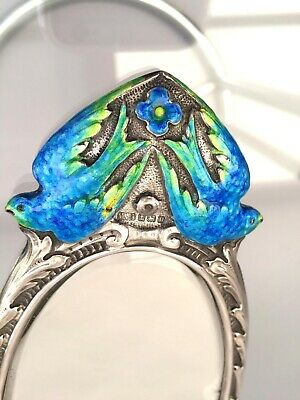 Antique hand mirror silver enamel Arts and Crafts Movement early 20th century