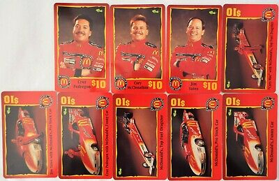 MCDONALD'S $10 Phone Card 1996 RACE TEAM Sprint Lot of 9 - Nearly Complete Set