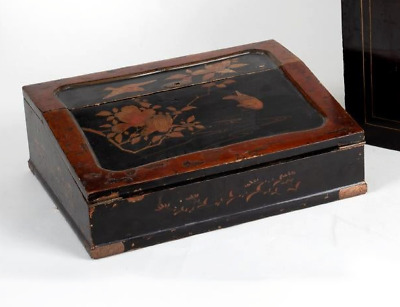 ANTIQUE VICTORIAN WRITING SLOPE PAD calligraphy wooden box