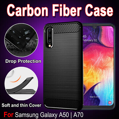 Samsung Galaxy A20 A30 A50 A70  Shockproof Carbon Fiber Heavy Duty Case Cover