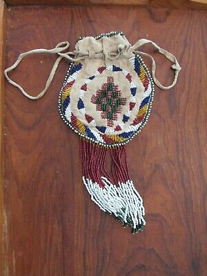 antique / old Apache Beaded Bag   double sided classic trade beads