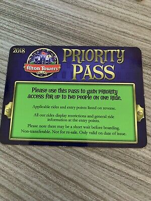 Alton Towers Fastrack Priority Pass 1.2m Rides And Below