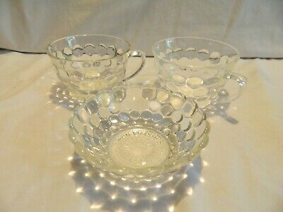 6 Vintage Anchor Hocking Clear Hobnail Bubble Glass Cups & 5 Matching Saucers