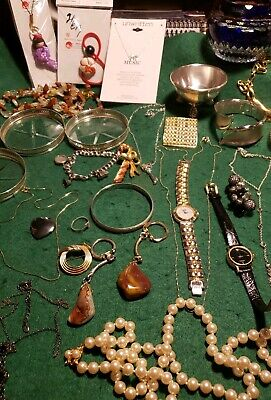 Women's Junk Drawer Lot: 14k Gold Necklace, Sterling Silver Jewelry, Faberge