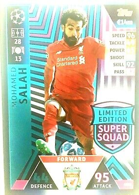 Match Attax 18/19 Uefa Champions League Mohamed Salah Super Squad L/Ed  Mint