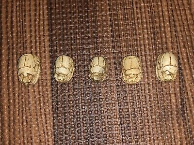 Five ( 5 ) Antique Egyptian Carved Stone Faience Scarab Beads Pendants