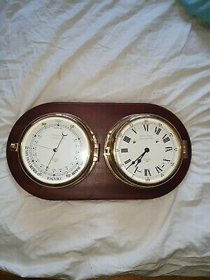 Ships QE2 jubilee edition Brass Cased Clock and barometer  SEWILLS LIVERPOOL
