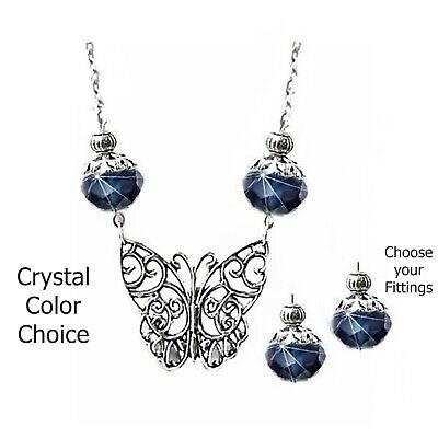 Charm Necklace Set, Butterfly and crystal, choose color, and fittings