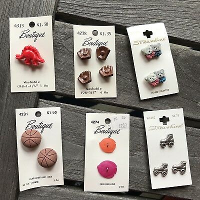 Vintage Streamline Boutique Buttons Lot Of 14 Plastic Wood Hand Painted Washable