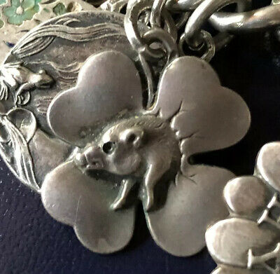 Beautiful German Antique Sterling Silver Lucky Four Leaf Clover And Pig Pendant