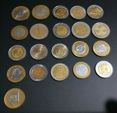 GREAT bulk lot of 21 different bi-metallic coins from around the world