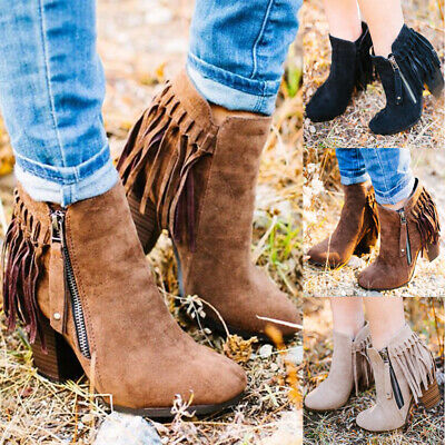 Womens Zip Up Tassel Ankle Boots Ladies Block Mid Heel Pointed Toe Shoes Size