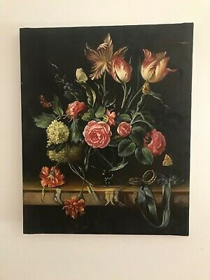 Vintage Floral Still Life oil painting on canvas needs restoration