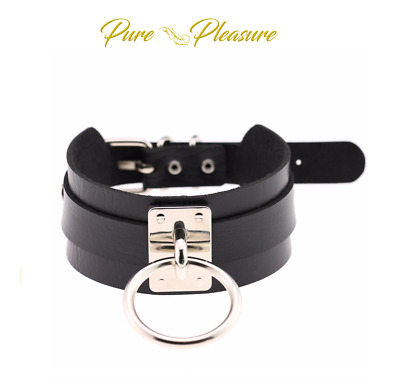 Unisex Faux Leather Choker Collars and Wristbands with 'O' Ring in Silver/Gold