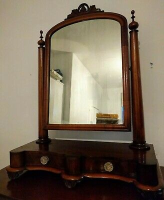 Antique Victorian Mahogany Veneer Dressing table Mirror - Original Plate - Swing