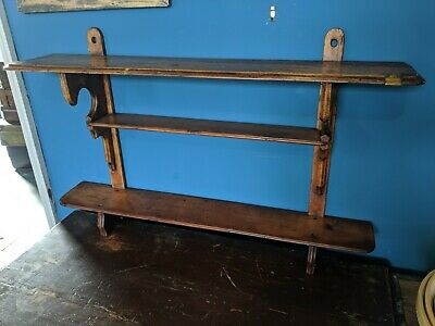 Antique Victorian Wooden Wall Display Shelf - brass cigar/pipe holder Book Shelf