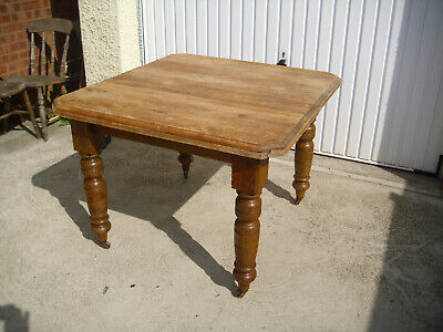 Antique Victorian Scrub Top Pine Kitchen Dining Table 79 x 101cm Turned Legs