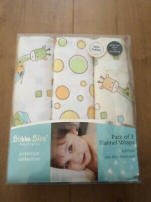NEW Bubba Blue Flannel Wraps Pack of 3 Unisex Yellow and White 100% Cotton