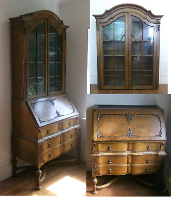 Antique bureau unusual neo-classical style writing desk with bookcase