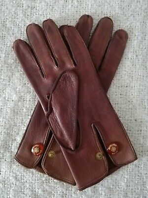 Vtg 60s English Make Birmingham Newey Brothers Ltd leather driving gloves women