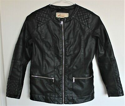 Black LC WaIKIKI Unisex Faux Leather Zip Lined Quilted Detail Slim Fit 10-11yrs