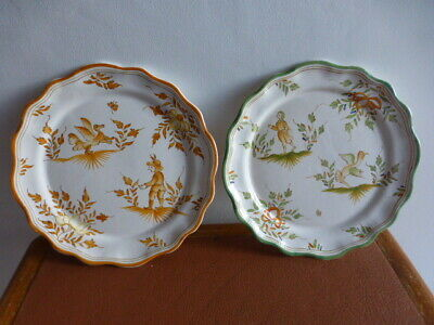 Deux assiettes en faience décorée. Moustiers. 2 decorated earthenware plates.