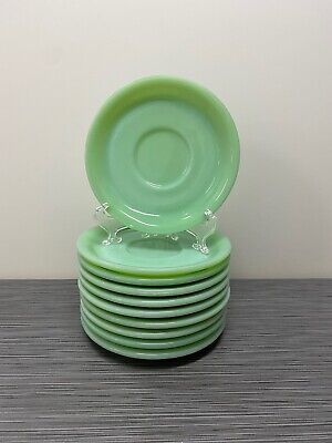 Set Of Ten 10 Fire King Jadite / Jadeite / Jade-ite Restaurant Ware Saucers ONLY