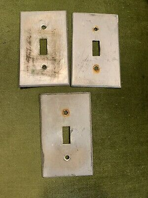 Antique Ultra Rare Nickel Plated Switch Plate Covers Lot Of 3