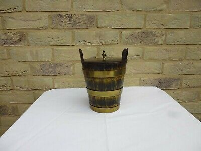 19Th Century Friesland Wooden Coopered Style Storage Bucket With Brass Bands & L