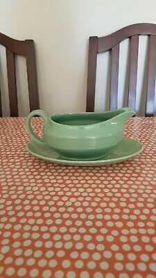 VIntage Woods Ware Beryl Gravy Boat and Saucer