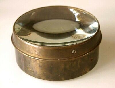 4 inch DIAMETER BRASS BOUND MAGIC LANTERN CONDENSER LENS,PERFECT CONDITION 1890s