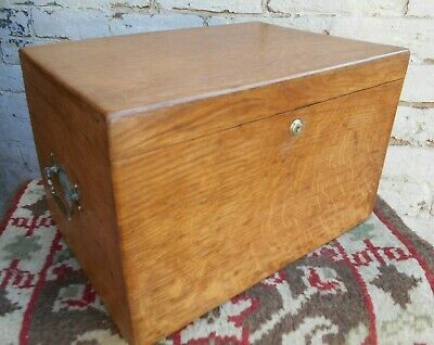 Antique Victorian Oak Stationary Box Storage Box Document Box