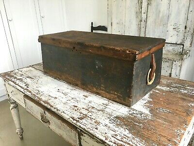 Aafa Antique Sea Chest Trunk Toolbox Forged Iron Hinges  Square Nails Blue Green